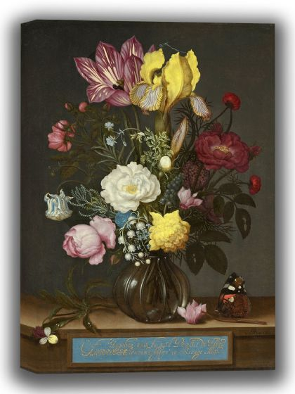 Bosschaert, Ambrosius: Bouquet of Flowers in a Glass Vase. Fine Art Canvas. Sizes: A4/A3/A2/A1 (0056)